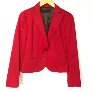 Zara Woman Pleated Back Red Blazer 6